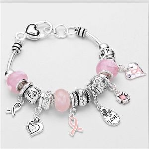 Pink Ribbon Breast Cancer Charm Bracelet